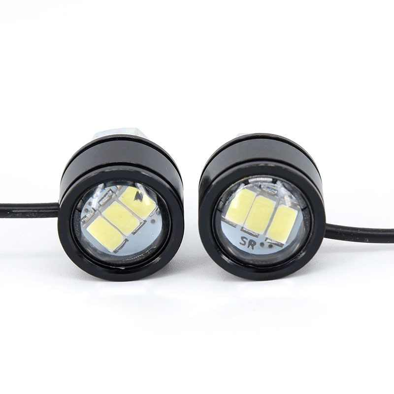 Motorcycle White LED Spotlight Headlight Driving Light Fog Lamp 2 Pcs Rearview Mirror LED Headlights