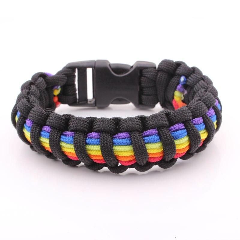 Rainbow Stripe Paracord Bracelet, Survival Bracelet Outdoor Camping Quick Release Bracelet. Climbing Camping Survival Equipment