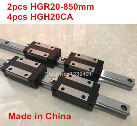 HG linear guide 2pcs HGR20 - 850mm + 4pcs HGH20CA linear block carriage CNC parts hg linear guide 2pcs hgr20 850mm 4pcs hgw20ca linear block carriage cnc parts