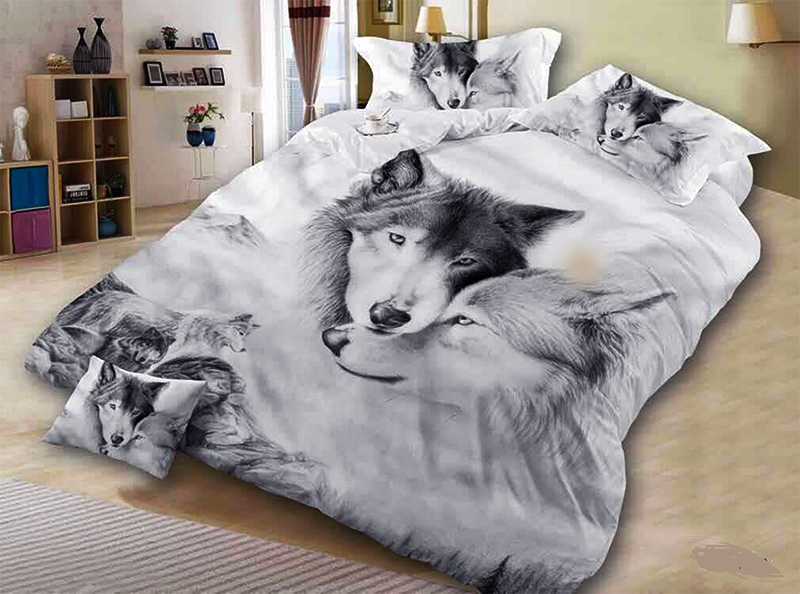 Wolf Couple Bedding Sets Cool Grey Lovers Wolf Duvet Cover Set 3D Vivid Comforter Cover 3pcs Twin Full Queen King