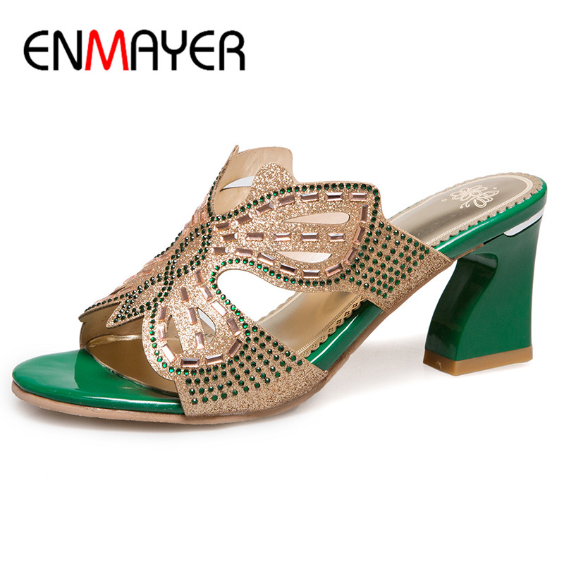 ФОТО ENMAYER High Heels Open Toe Summer Sandals Shoes Womens 2017 Party Shoes EVA Injection Shoes Plus Size 34-43 Women Big Shoes
