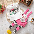 Wholesale and retail 2015 Baby Girls spring/autumn Suits newborn Cotton Clothing Sets For newborn t-shirt + pants 0-2Y