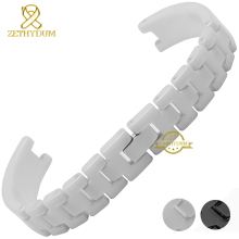 Ceramic watchband Concave interface women's watch strap small bracelet wristwatches band 12mm white black watch belt for AK1314