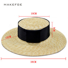 Super wide Wide Brim straw hat summer female ladies beach Sun visor Panama hats women Natural Straw Boater Hats