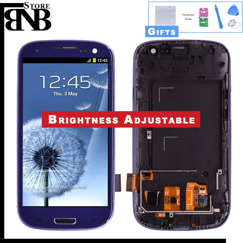Para Samsung Galaxy S3 i9300 Screen Display LCD de Toque Digitador Casa Botton Assembléia Completa com Moldura Moldura presente protetor de tela