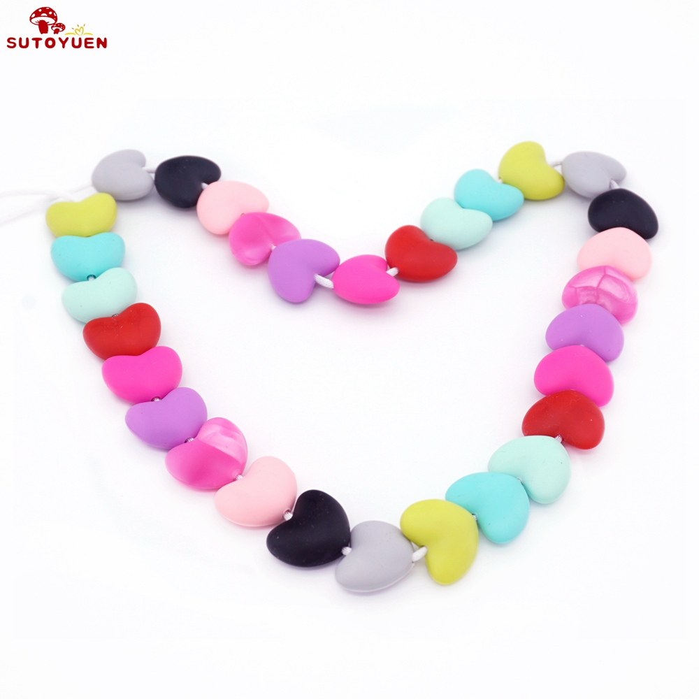 Round With Heart Shape Silicone Teething Beads Baby Necklac or Bracelet Making