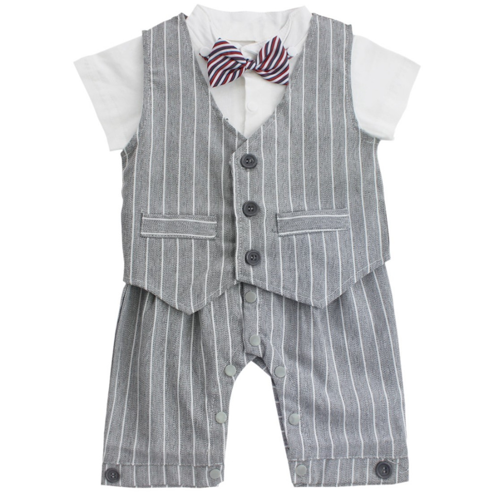 3-6 Month Baby Boy Rompers Cotton Tie Gentleman Suit Bow Leisure Body Suit Clothing Toddler Jumpsuit Baby Boys Brand Clothes 2pcs set newborn baby boy clothes gentleman grey rompers with bow jeans baby boys clothing set
