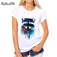 PyHenPH New 2017 T Shirt For Women Raccoon O Neck Short Sleeved Women T Shirt Fashion