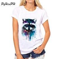PyHenPH New 2017 T shirt for women Raccoon O-neck short sleeved women T-shirt Fashion design Tops