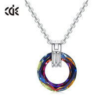 CDE 925 Sterling Silver Necklace Embellished with crystals from Swarovski colorful circle fine Jewelry Pendant Necklace Women цена
