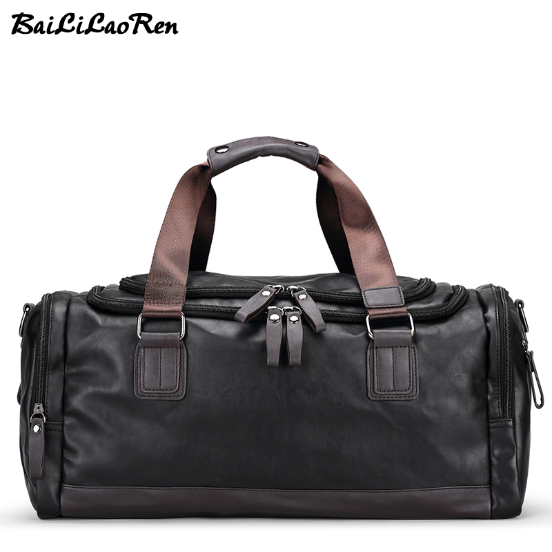 BaiLiLaoRen Men Travel Bags Large Capacity Male Hand Luggage Duffle Bag Soft Leather Travel Handbags Weekend Casual Shoulder Bag