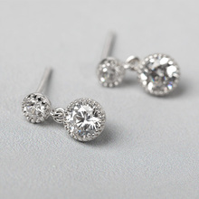 Funmor Shinning Small Zircon Ear Jewelry 925 Sterling Silver Earrings Women Girls Routine Gathering Decoration Accessories Gifts