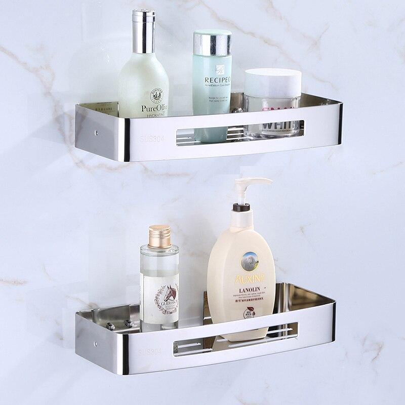 Stainless Steel 304 Square Bathroom Corner Shelf Shower Room Rack For Body Wash Bottle Toilet Corner Table Shelf Holder