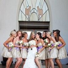 2015 Gold Bridesmaid Dress Sweetheart Sashes Bow Sequined Organza A Line Above Knee Robe Demoiselle Honneur Biridesmaid Dresses