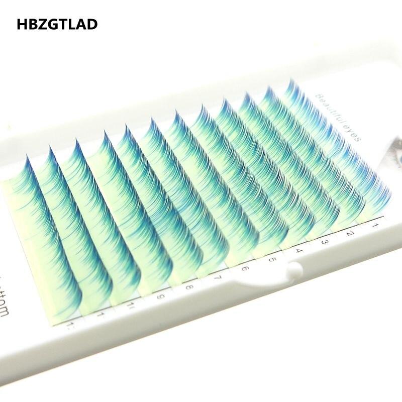 HBZGTLAD Brand New C/D Curl 0.07/0.1mm 8-15mm False Lashes Yellow+blue Eyelash Individual Colored Lashes Faux Eyelash Extensions
