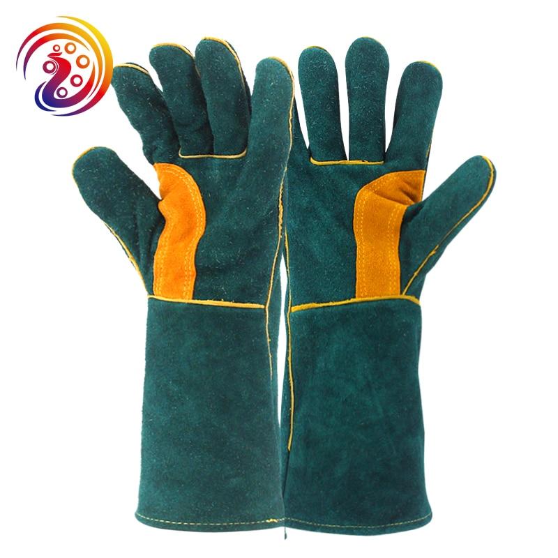 все цены на OLSON DEEPAK Men's Welding Gloves Cow Split Leather Long Welders BBQ Gloves Barbecue Heat Resistant Work Glove HY038 онлайн