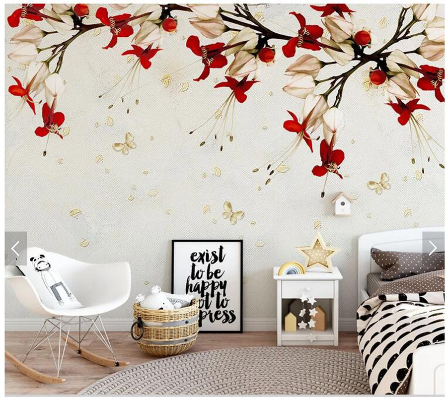 Peachy Us 15 9 47 Off Custom Floral Wallpaper Red Flower Vine Mural For Living Room Bedroom Sofa Tv Background Home Decor Wallpaper In Wallpapers From Gmtry Best Dining Table And Chair Ideas Images Gmtryco