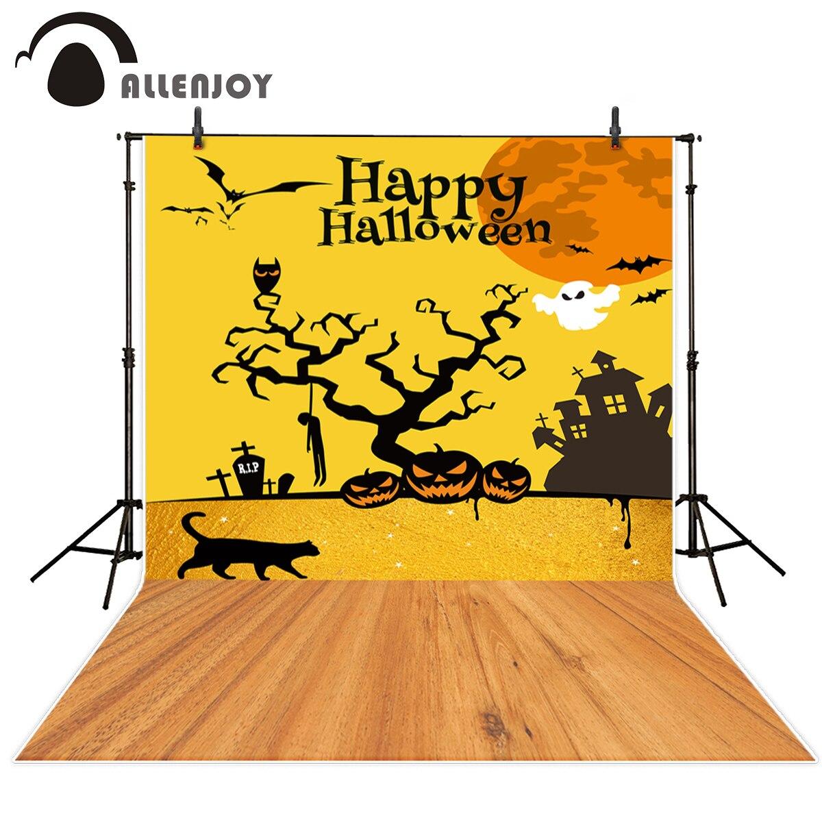 Allenjoy photo background Halloween Ghost pumpkin tree castle cat scary tomb moon wood floor the cloth vinyl backdrops