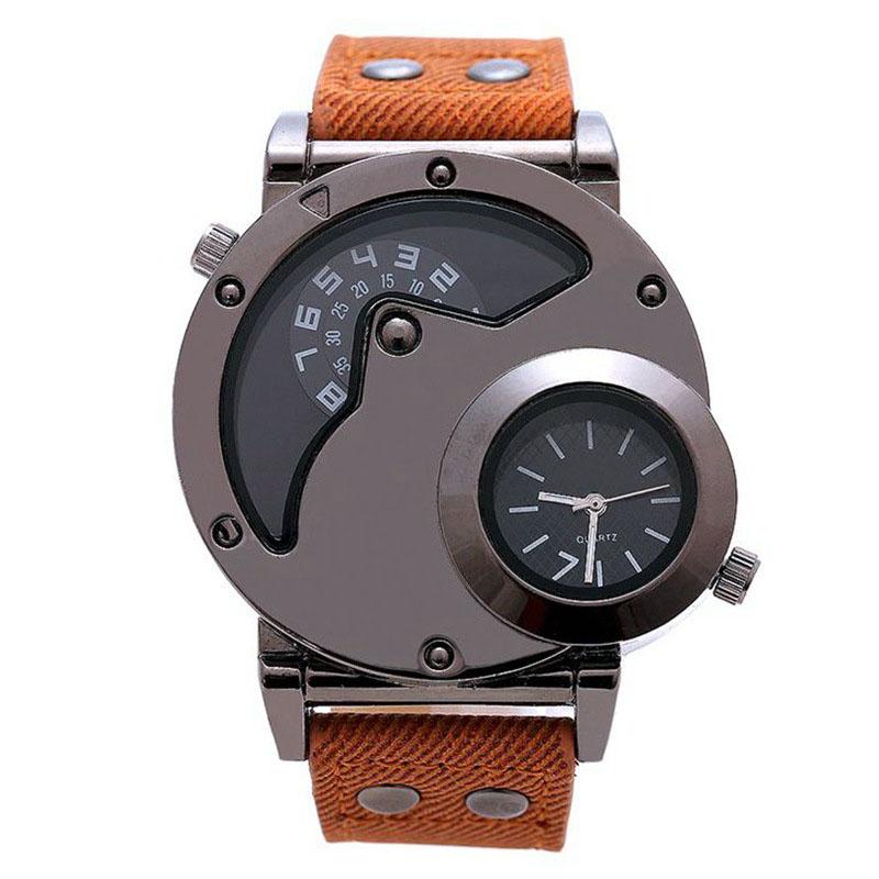 Prix pour 2017 Casual Double Mouvement Montre À Quartz Hommes De Luxe Sport En Cuir Montres Design De Mode Montre-Bracelet Militaire de L'armée des Hommes Horloge