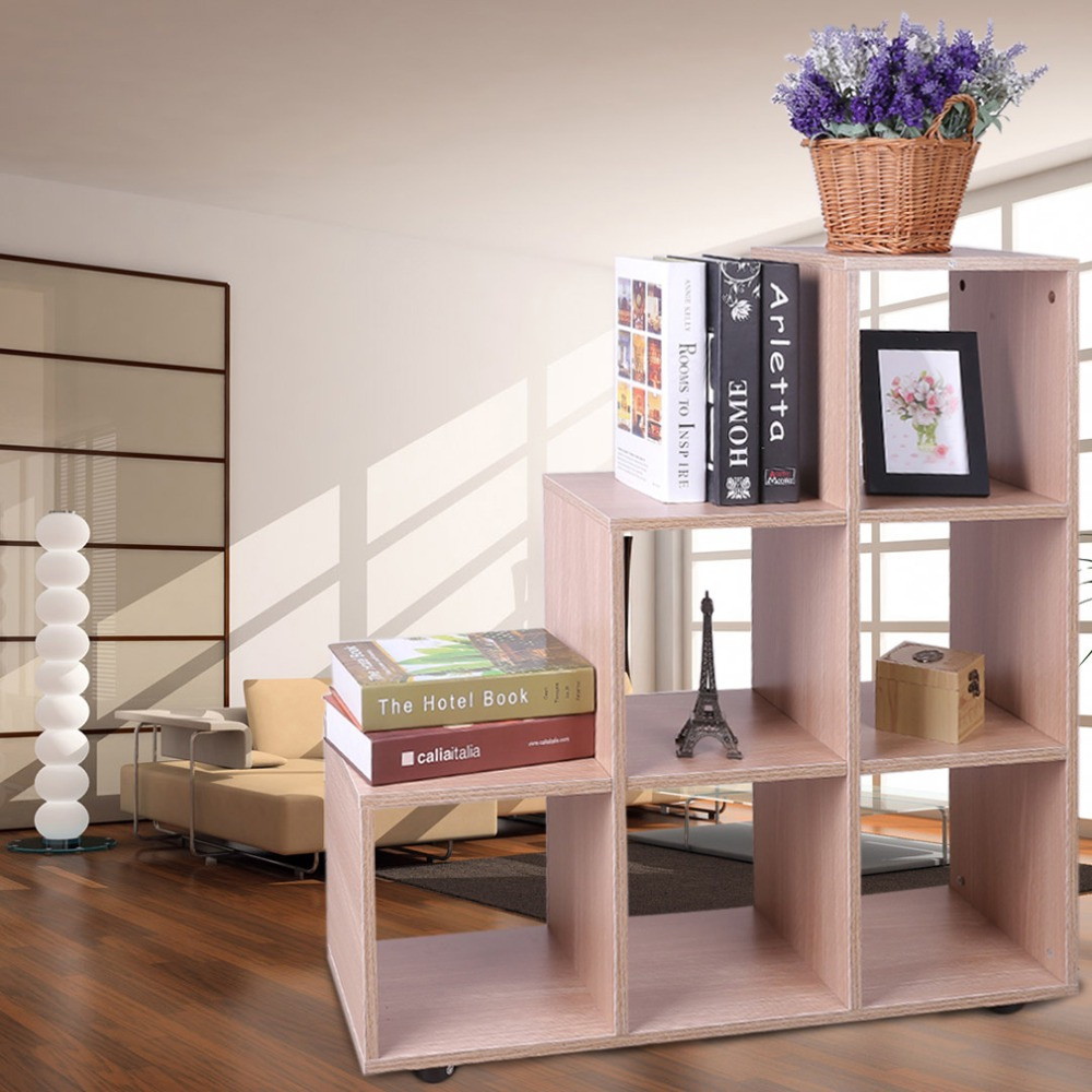 6 Grids Ladder Bookshelf Bookcase Storage Shelves Holders Racks Book Display For Bedroom Kitchen Garage DX-C703 цены