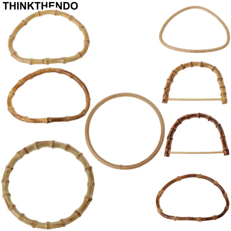 1Pc D / Round Shape Bamboo Handle For Handmade Handbag DIY Tote Purse Frame Making Bag Hanger