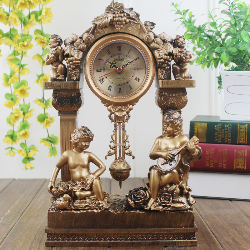 14 inches table clock home decoration the living room desk clock antique mute watch small resin - Antique clock designs for your home ...