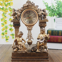 14 Inches Table Clock Home Decoration The Living Room Desk Clock Antique Mute Watch Small Resin Clock