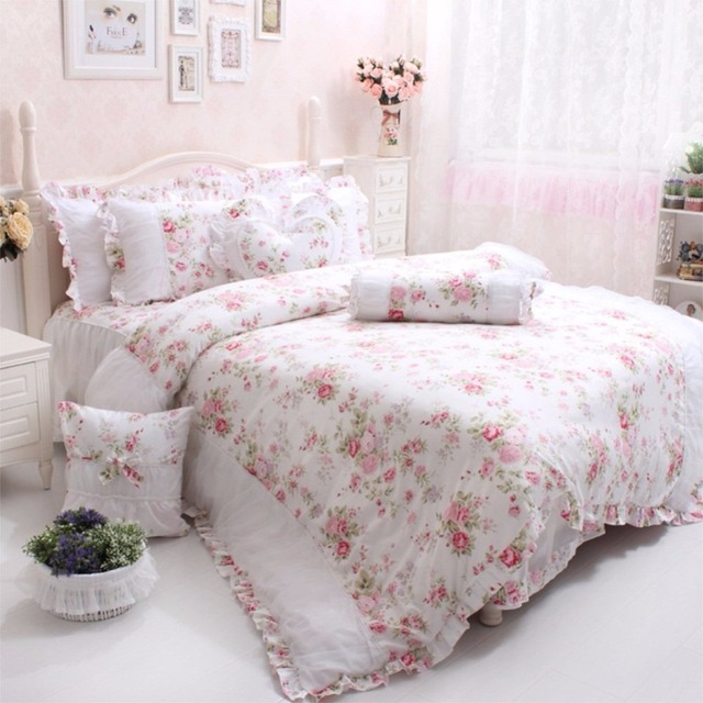 Wonderful Fadfay Cotton Luxury Queen Bedding Rose Floral Bedding Set Elegant  GU91