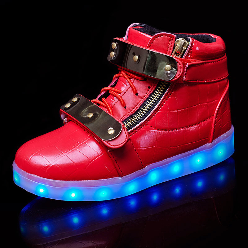 KIDS Girls Outdoor LED Light Up Shoes Luminous High top Unisex Family Sneakers