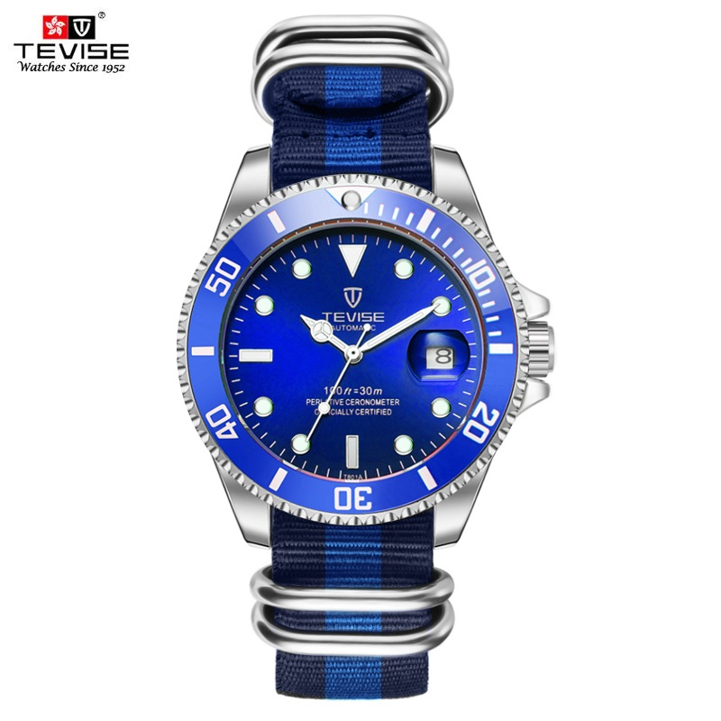 TEVISE Blue Watch Men Canvas Strap Mens Watches Date Luminous Luxury Male Clock Automatic Self-Wind Mechanical Wristwatches 2017 tevise men automatic self wind gola stainless steel watches luxury 12 symbolic animals dial mechanical date wristwatches9055g