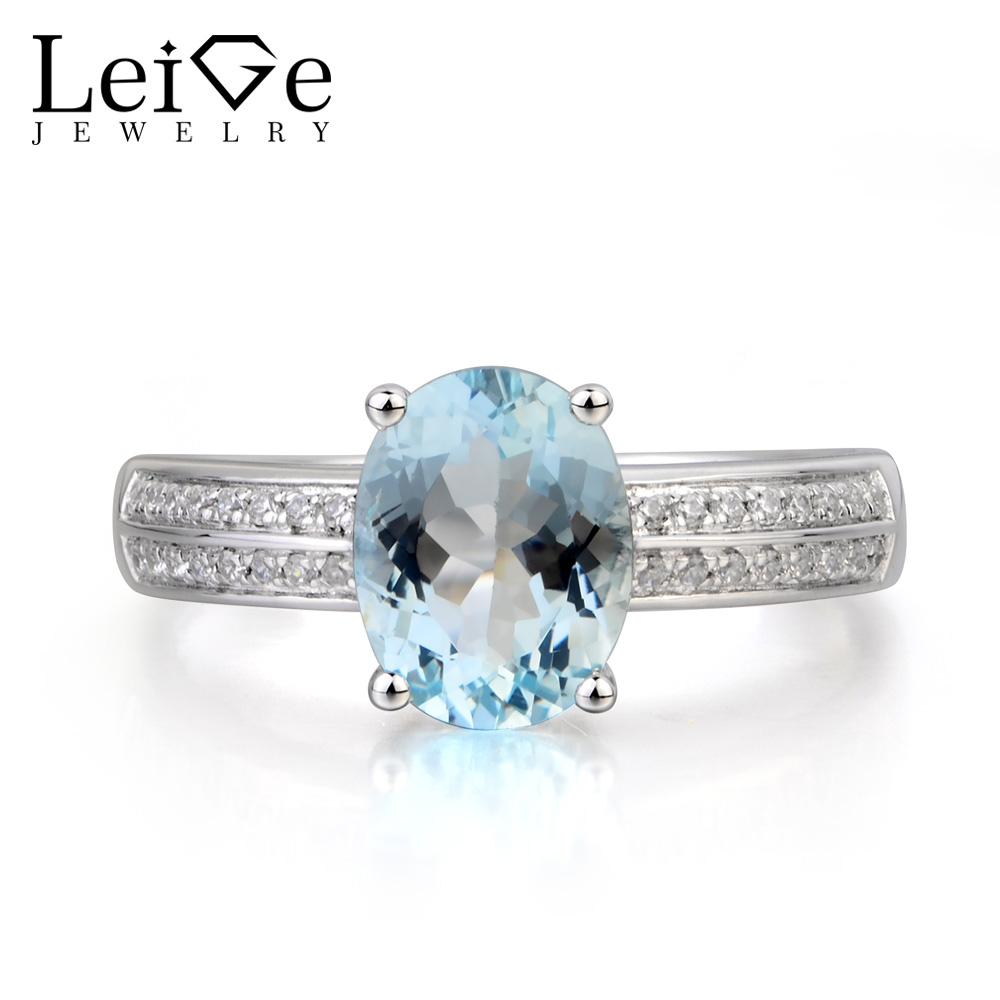 Leige Jewelry Natural Aquamarine Ring Oval Cut Promise Ring March Birthstone Blue Gemstone 925 Sterling Silver Ring for Women