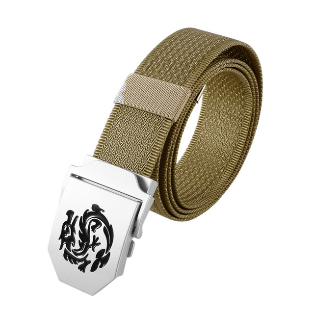 Enniu Brand Mens Dragon Pattern Canvas Knitted Belt Automatic