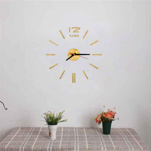 ساعة حائط جديدة تصميم عصري لتقوم بها بنفسك التناظرية ثلاثية الأبعاد سطح المرآة عدد كبير ساعة حائط أوروبا الاكريليك ملصق لتزيين المنزل دروبشيب