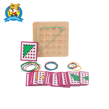 Baby Toy Montessori Creative Graphics Rubber Tie Nail Boards with Cards Childhoo