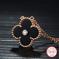 S925 sterling silver four leaf clover necklace female models European and American fashion jewelry Christmas gifts