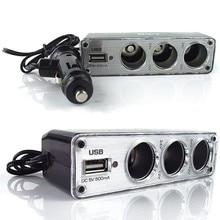 2019 12v-24v Car Cigarette Lighter 3 Way Car Sockets Adapter Splitter USB Car Charger triple sockets car power adapter splitter with usb port 12v