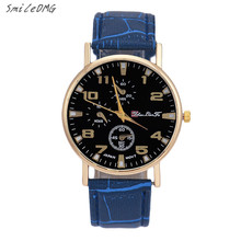 SmileOMG Business Men Women Watch Bamboo Pattern Leather Band Analog Black Dial Quartz Wrist Watch,Aug 6