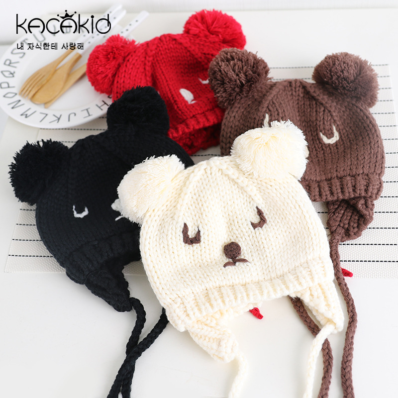 50865fa2e KACAKID Winter Unisex Knitted Baby Hat Cute Cat Pattern Kids Children Baby  Boys Girls Hat Fashion Warm Children Baby Hats ka2059