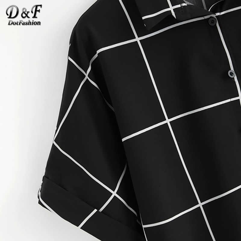 Dotfashion chemise manches à revers noir et blanc grille 2019 été décontracté manches chauve-souris Placket vêtements femmes hauts et chemisiers
