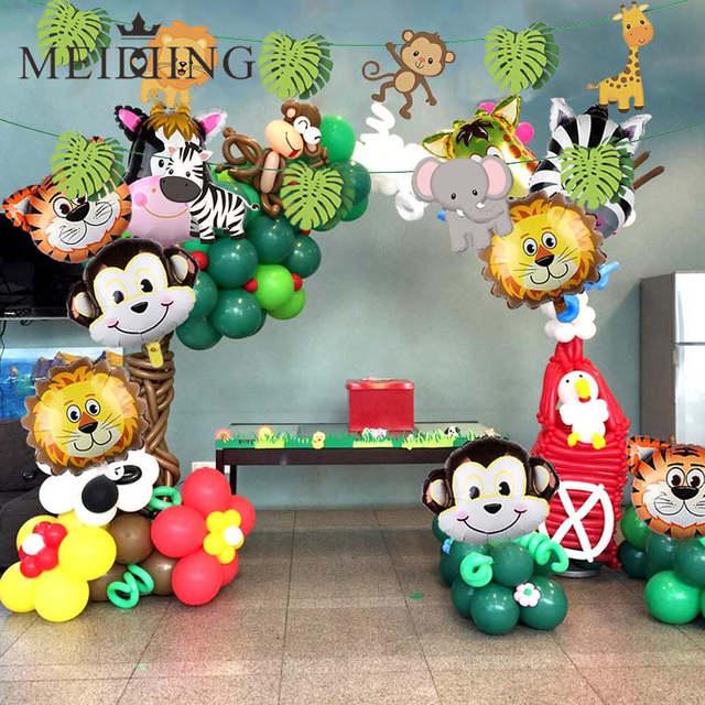 Placeholder Safari Jungle Party Tableware Set Kids Birthday Decor Zoo Animal Tablecloth Napkin 1st Boy