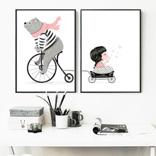 Wall Art Print Bear Travel With Little Girl Canvas Painting Nordic Cartoon Posters And Prints Pictures Kids Room Decor