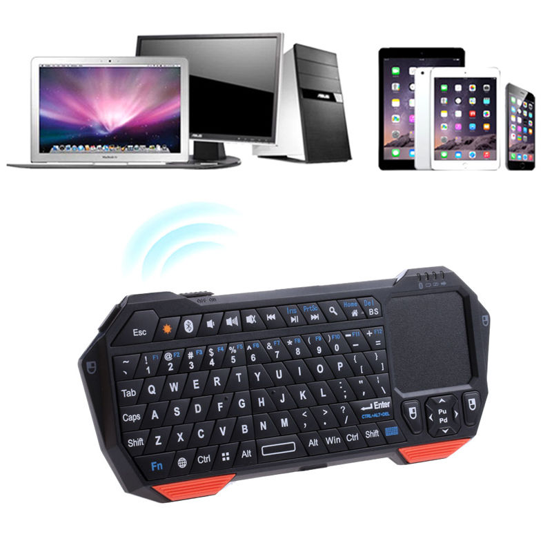 Mini Wireless Bluetooth V3.0 Keyboard Built-in Fly Air Mouse Touchpad For ipad Tablet PC Windows Android ios Smart Tv ipazzport bluetooth keyboard with touchpad for ios android windows tablet for ipad air ipad pro iphone x wireless keyboard