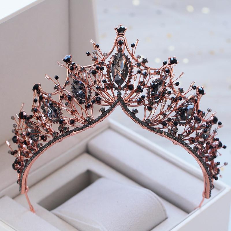Vintage Black Baroque Crystals Wedding Bridal Queen Crown Tiara Bride Headpiece