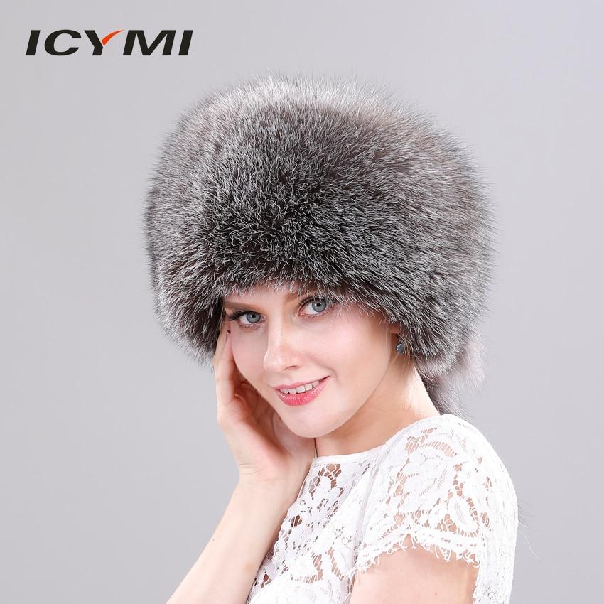 f1d19bba556 ICYMI Winter Cap Real Fox Fur Winter Hats Bombers For Women Luxury Trapper  Hat Caps Russian Genuine Fox Fur With Rabbit Fur Top