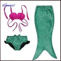 2017 Girls Swimwear Kids Baby Mermaid Princess Cosplay Biquini Infantil Three Piece Swimsuit Bikini Mermaid Tail