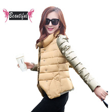 Winter short jacket women slim dtand collar long sleeve warm cotton padded coat women plus size