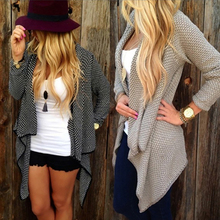 Women Casual Loose Irregular Design Knitted Cardigan Spring Autumn Outwear Coat