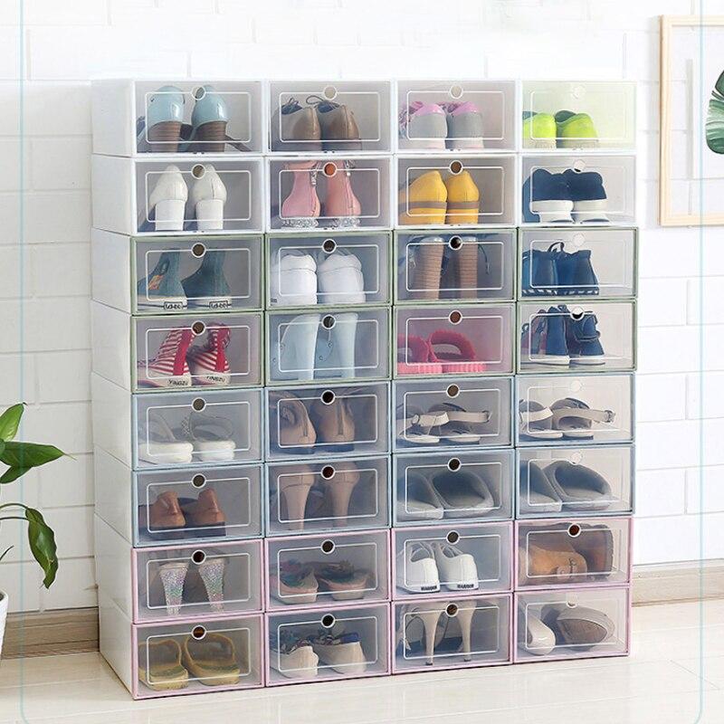 33*24*13cm Multi Color Plastic Transparent Flip Drawer Type Shoe Storage Box Living Room Sundry Case House Supplies