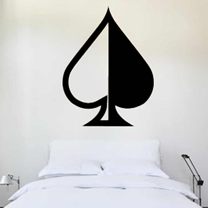 ZOOYOO Half And Half Ace Of Spades Wall Decals Vinyl Removable Bedroom Headboard Poker Wall Sticker Waterproof
