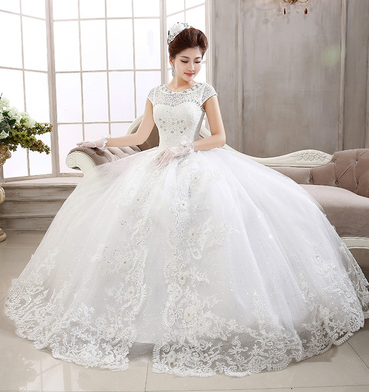 Hot Sale Factory Price Ball Gown Cap Sleeve Appliques